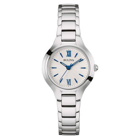 Womens Classic Stainless Steel Case and Bracelet Blue Accents White Dial Silver Watch - 96L215 - Mom Classic Silver Watch