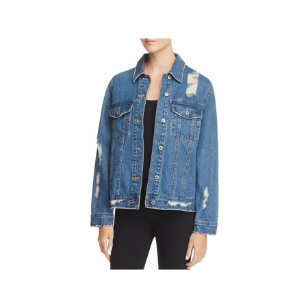 Sunset & Spring Womens Fall Destroyed Jean Jacket Blue XS ()