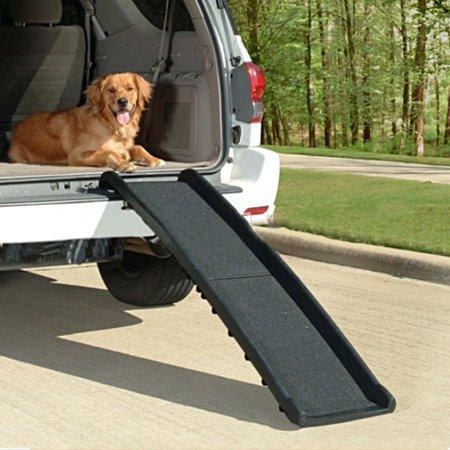Tebru Pet Ramp, Car Truck Foldable Pet Ramp Non Slip Stair Portable Black Auto Travel Ladder, Foldable Pet Ramp, Anti-slip Pet Ramp