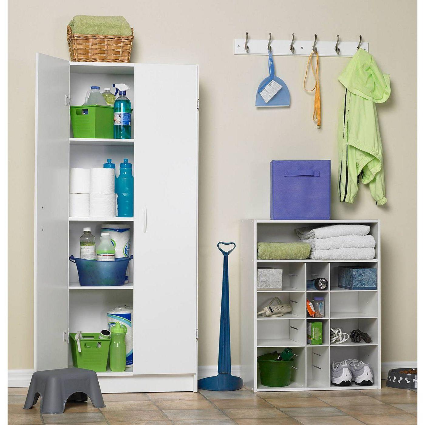 ClosetMaid White Kitchen Laundry Home Pantry Adjustable Shelves Cabinet