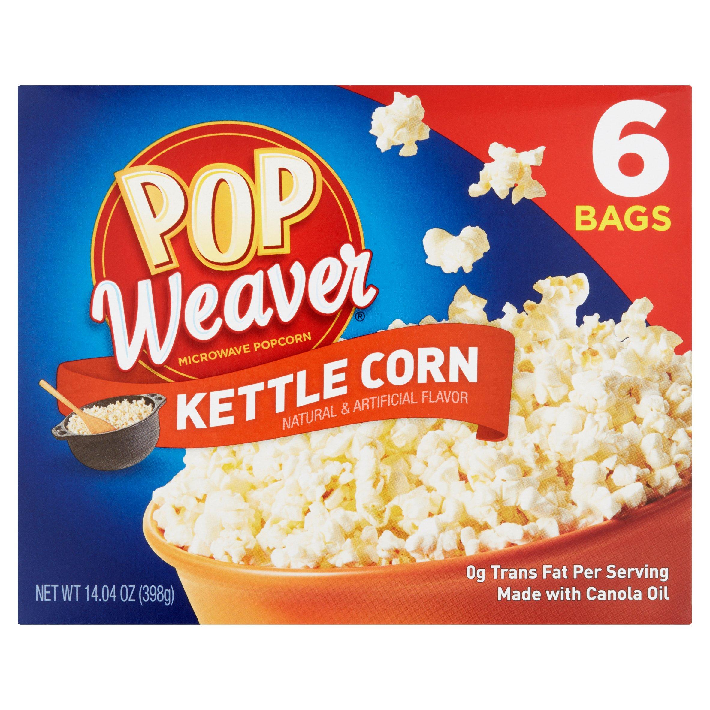 (4 Pack) Pop Weaver Kettle Corn Microwave Popcorn, 6 count, 14.04 oz