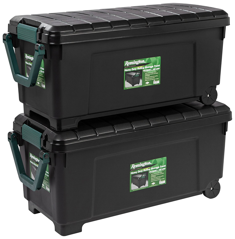 IRIS USA Remington 2-Piece Heavy Duty Rolling Storage Trunk Set, Black by