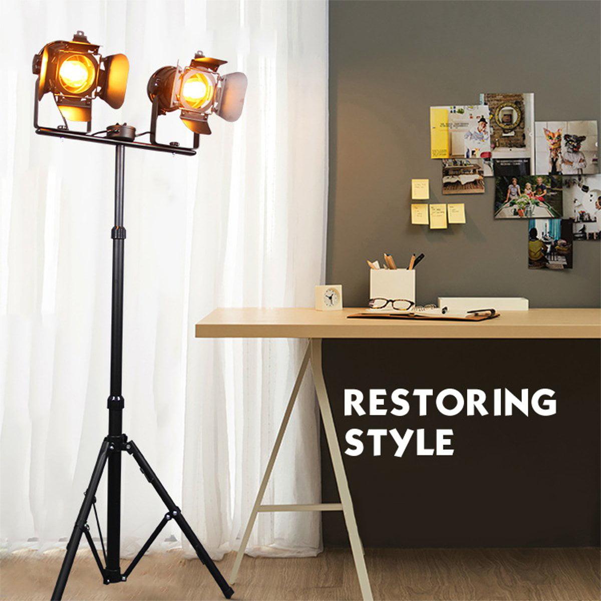 Retro Nautical Searchlight Floor Lamp Wooden Tripod Adjustable Light