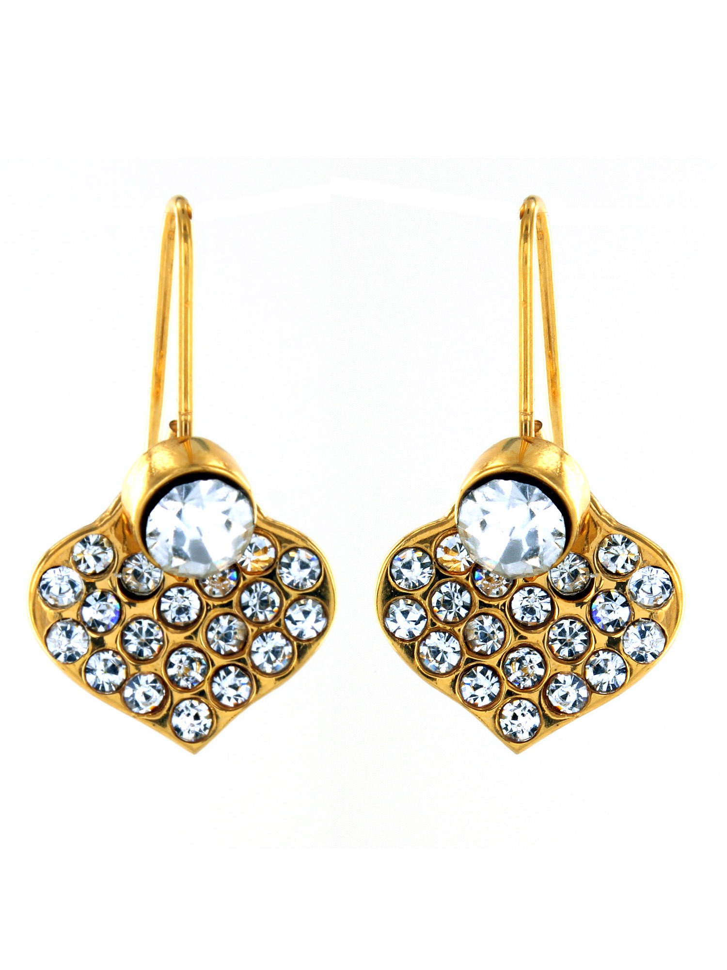 Crystal Heart Dangling Gold IP Stainless Steel Earrings