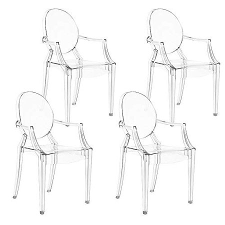 Swell Magshion Set Of 4 Modern Ghost Dining Side Chair With Arms In Transparent Crystal Clear Uwap Interior Chair Design Uwaporg