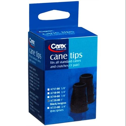 Carex Cane Tips 1 Inch Black A720-00 2 Each (Pack of 6)