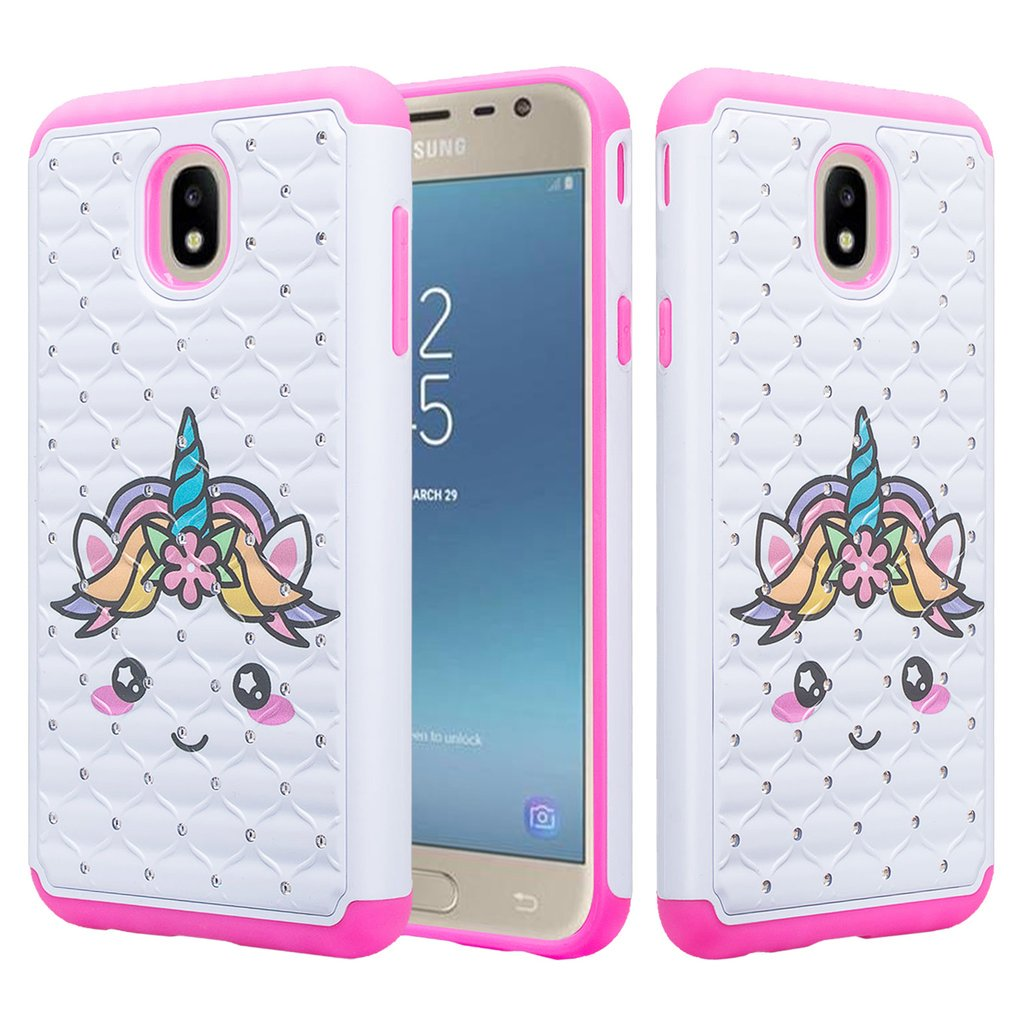 new style 7f453 1d9fe Samsung Galaxy J3 2018/J3 Star/J3 Achieve/J3v 3rd Gen/Express Prime 3 Case  Cute Diamond Bling Silicone Shock Proof Phone Case Dual Layer Protective ...