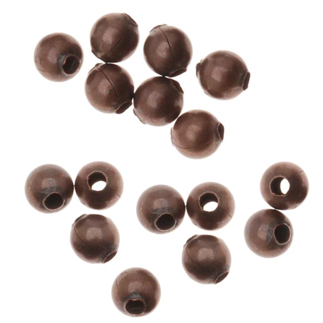 Antiqued Copper Plated Sleek Round Beads 3mm (100)