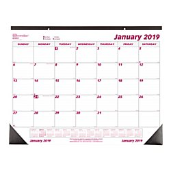"Brownline® Monthly Desk Pad Calendar, 22"" x 17"", 50% Recycled, FSC Certified, January to December 2019"