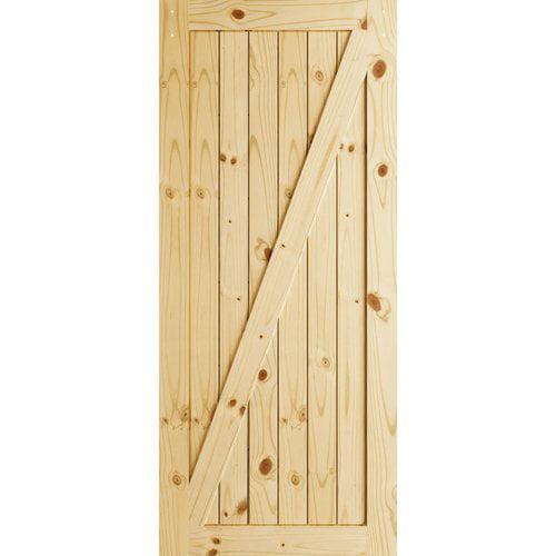 Frameport Z-Brace Sliding Manufactured Wood Interior Barn Door (Set of 2)