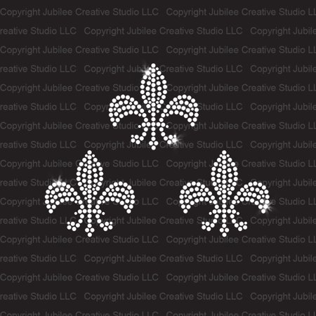 Set of 3 Small Fleur de Lis Iron On Rhinestone Transfer - Set of 3