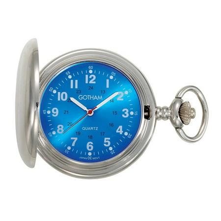 Men's Silver-Tone Blue Dial Covered Quartz Pocket Watch with Chain # GWC15042SBL Quartz Silver Tone Pocket Watch
