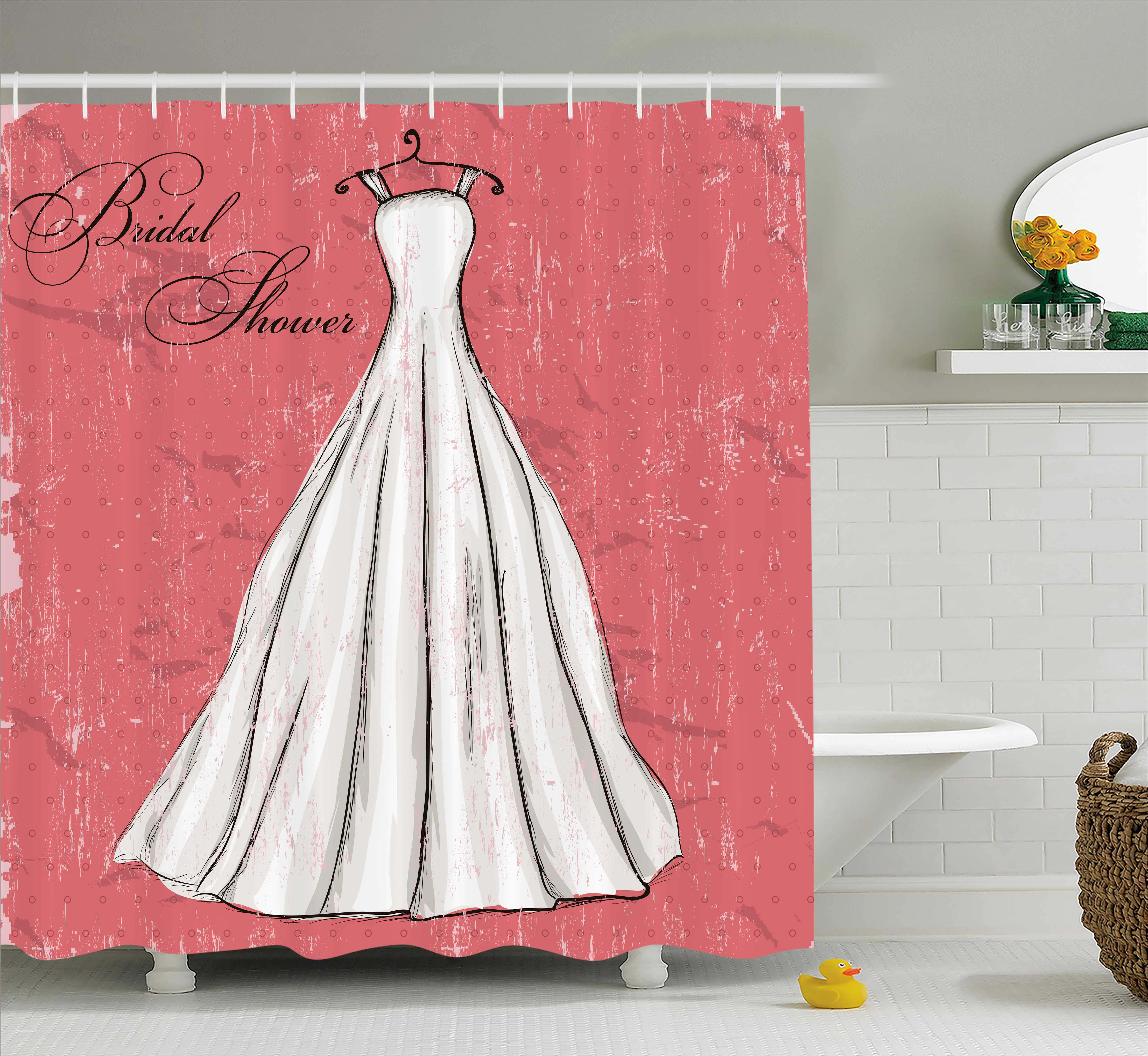 Bridal Shower Decorations Shower Curtain, Pink Grunge Bac...
