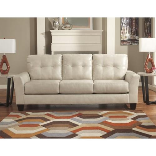 Ashley Paulie Leather Sofa in Taupe