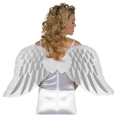 Suit Yourself White Marabou Angel Wings for Adults, One Size, Feature White Fabric, Silver Details, and a White Cloud