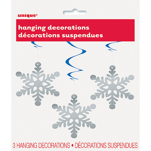 "26"" Hanging Swirl Snowflake Holiday Decorations, 3-Count"