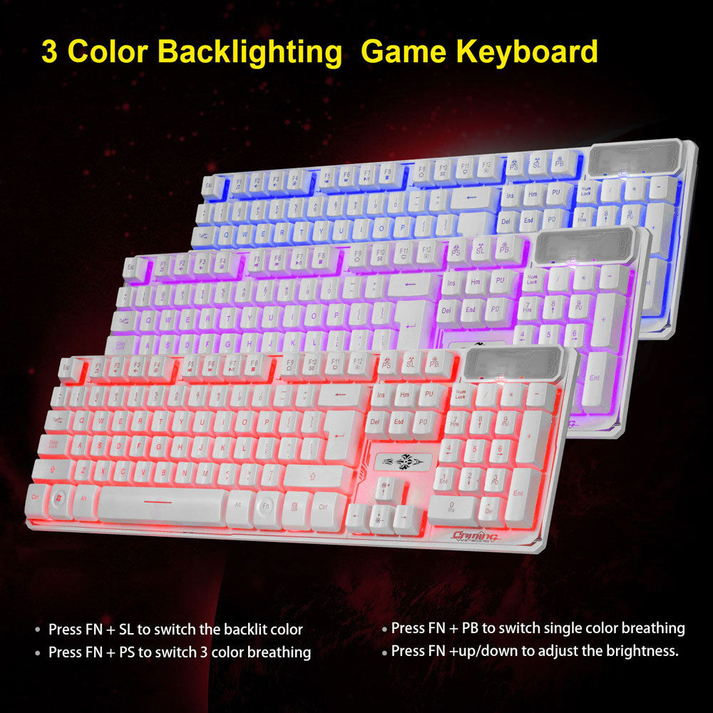 Zimtown 3 Color LED Multimedia Wired Backlit Gaming Mechanical Keyboard,107 Keys