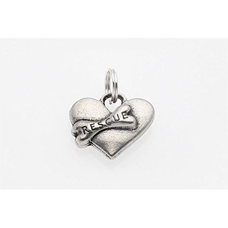 Big Paw Dog Cat Collar Charm   Rescue Heart