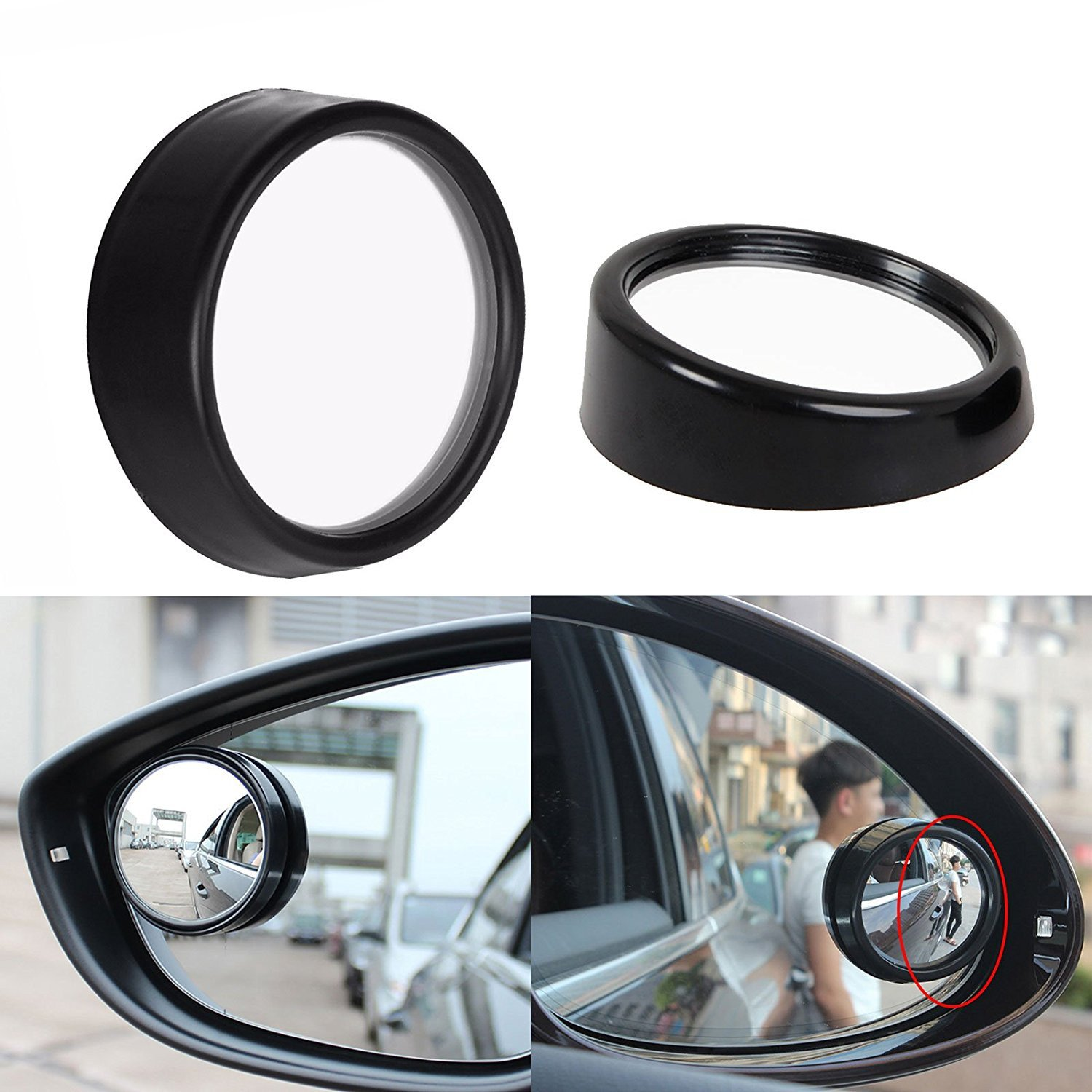 Xotic Tech 2 pcs Black Round Wide Angle Convex Rear View Stick On Blind Spot Mirror For Car Truck SUVs Motorcycle