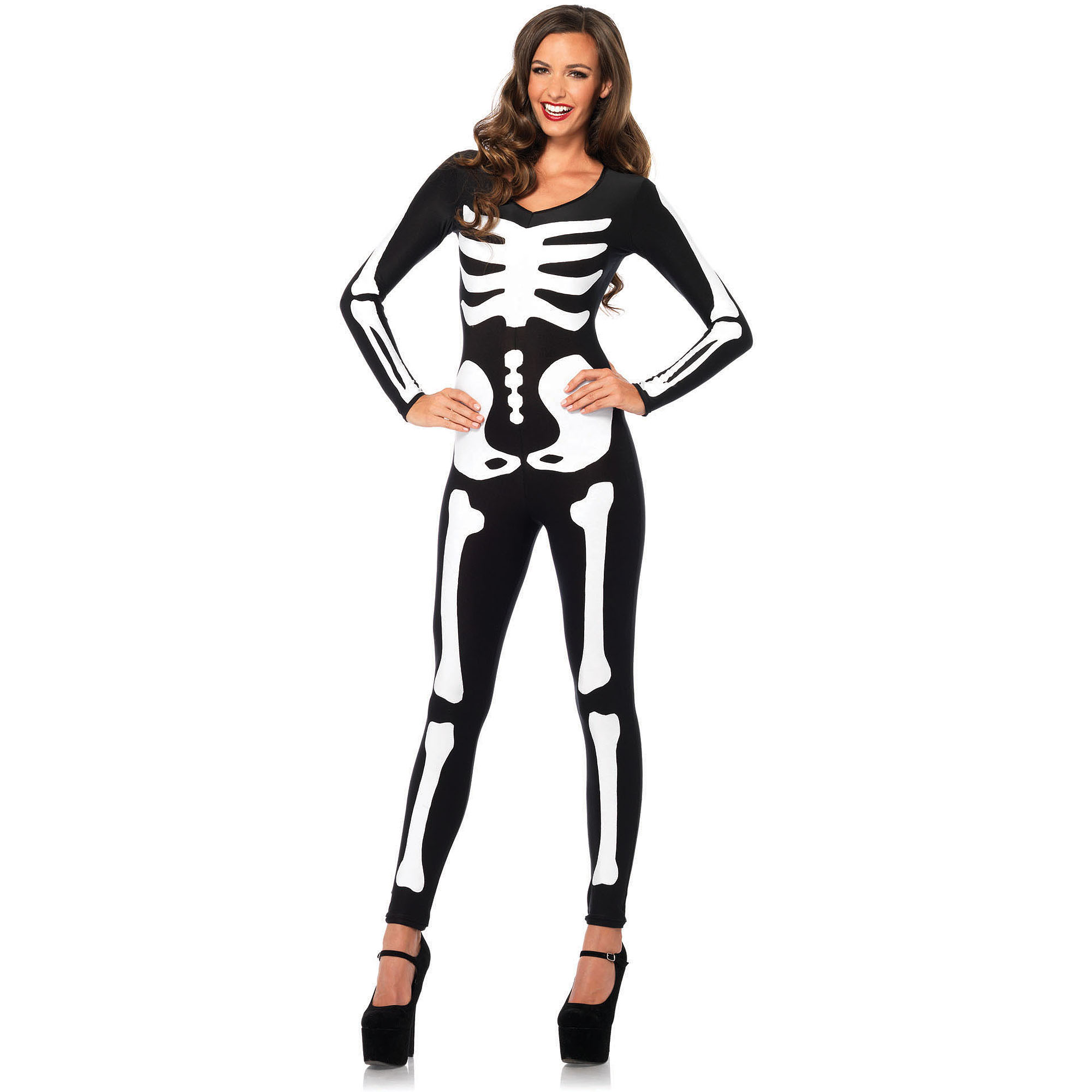 Glow In The Dark Skeleton Catsuit Adult Halloween Costume