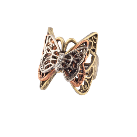 Lux Accessories Multi Butterfly Pave Burnished Stretch Ring