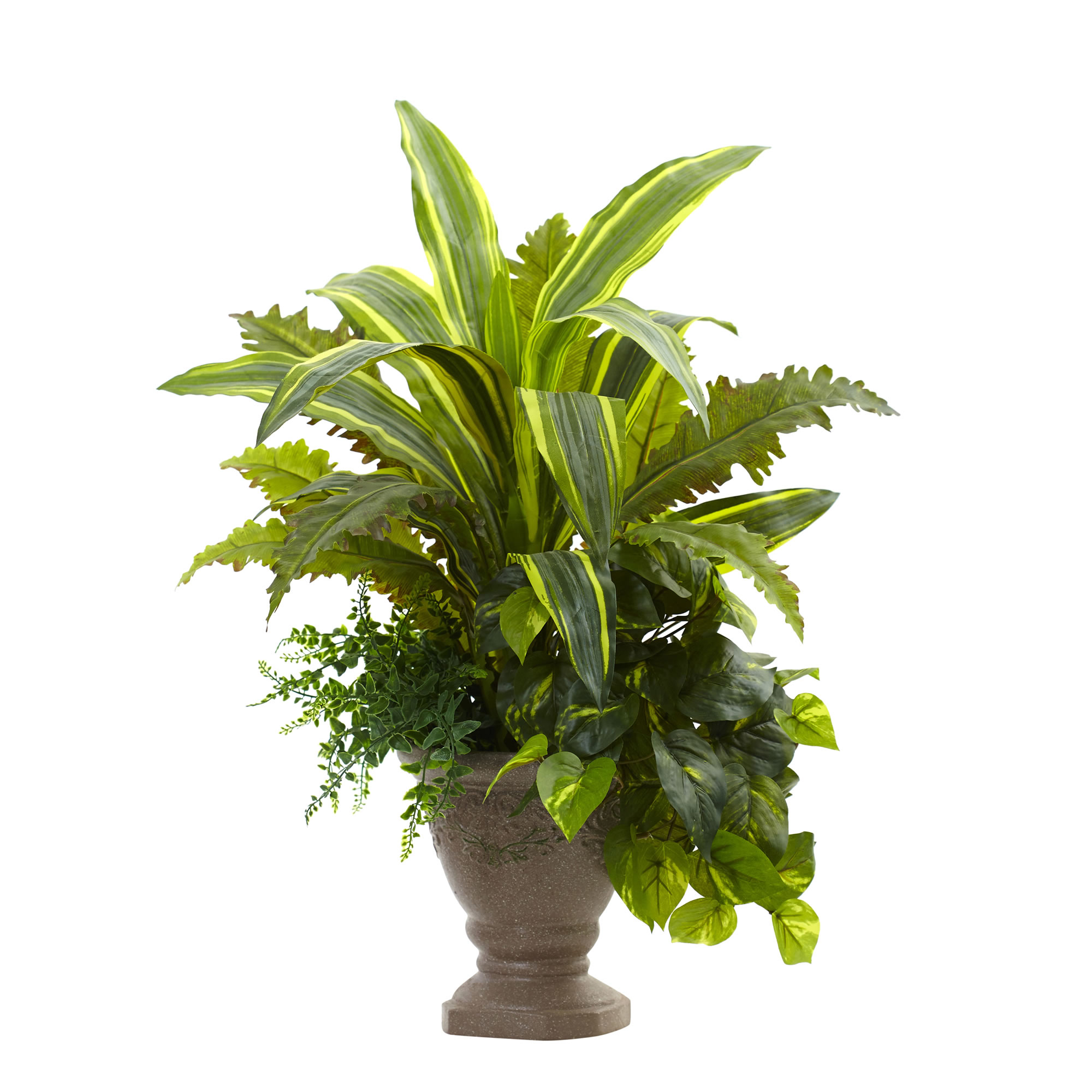Nearly Natural 25 in. Mixed Yucca, Marginatum, Pothos & Bracken w/Planter
