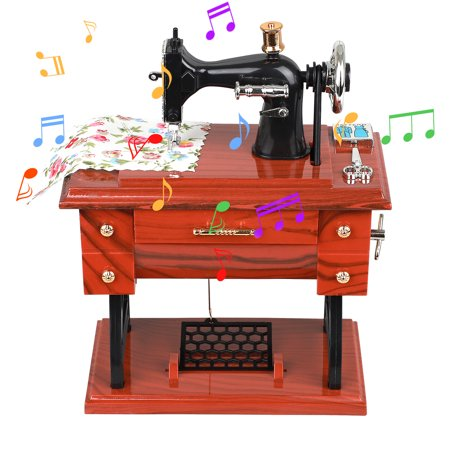 TSV Sewing Music Box, Vintage Music Box, Mini Realistic Sewing Machine Style Mechanical Simulation Music Box, Retro Treadle Sartorius Decoration, Birthday Gift Table Decoration Collection Porcelain Music Box Collection