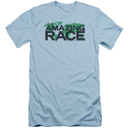 The Amazing Race Reality Game Show Distressed Map Logo Adult Slim T-Shirt Tee
