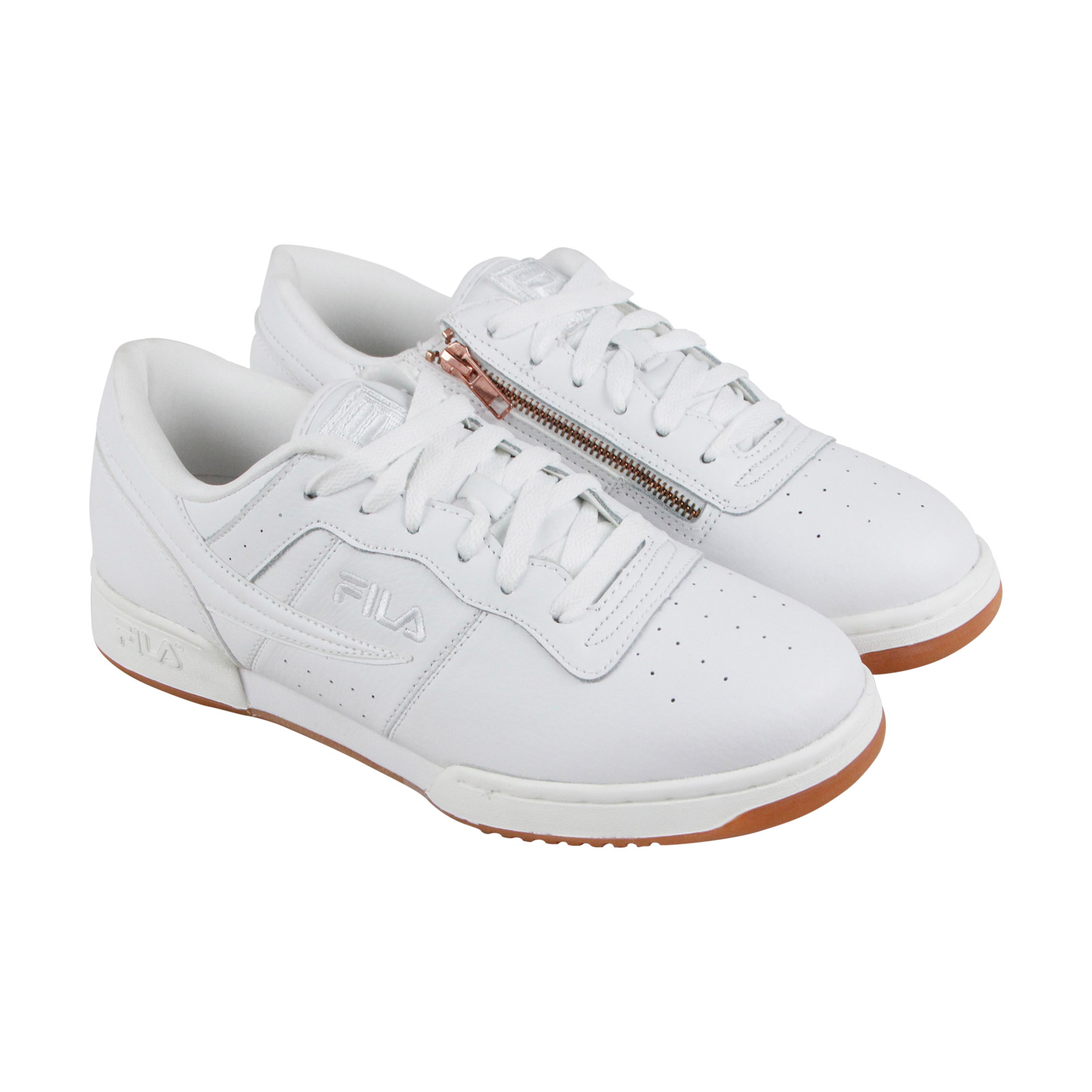 Fila Original Fitness Mens White Leather Athletic Lace Up Training Shoes by Fila