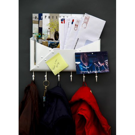 Foyer Wall Mount Letter Mail Key Newspaper Magazine Holder Coat Rack Envelope Shape Steel Entryway Organizer with 6 Hooks