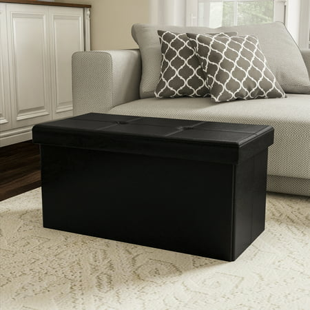 Large Foldable Storage Bench Ottoman – Tufted Faux Leather Organizer by Lavish Home (Black)