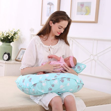 Adjustable Nursing Pillow and newborn baby Positioner breastfeeding pillow for Comfort, U Shape Cute footprints Design, Best for Breastfeeding Moms | 0-12 Months Baby | Great Baby Shower Gift, Blue](Baby Footprint Cutter)