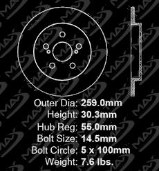 Max Brakes Front /& Rear Premium Brake Kit OE Series Rotors + Metallic Pads TA080243 Fits: 2011 11 2012 12 Lexus CT200h w// 259mm Diameter Rear Rotors