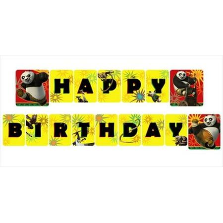 Kung Fu Panda '2' Happy Birthday Banner (1ct) - Panda Birthday Party Supplies