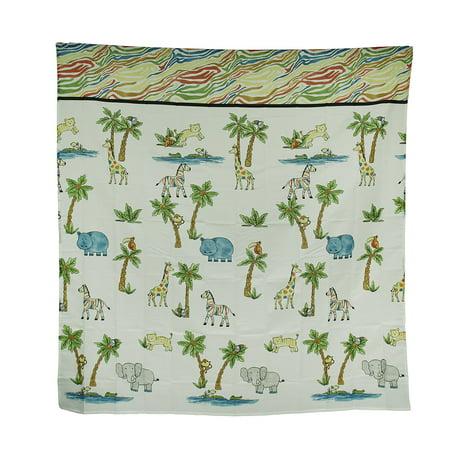 Blue Safari Hippo Rainbow Zebra Striped Fabric Shower Curtain 70 X 72 (Hippo Fabric)