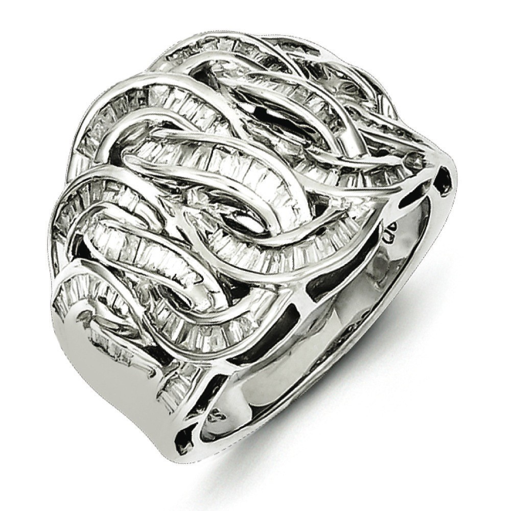 Sterling Silver Diamond Ring - Ring Size: 7 to 8