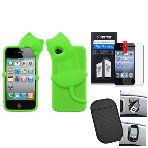 Insten Film Mat Electric Green Cat Peeking Pets Case Cover For APPLE iPhone 4S/4