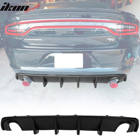 Compatible with 15-18 Dodge Charger RT Fin Rear Diffuser Bumper Lip Valance Matte Black PP