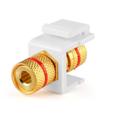 Banana Jack Keystone Insert - Speaker Banana Connector Socket Female Port Screw Type Binding Post Snap In Adapter Inline Coupler For Wall Plate Outlet Panel (White) ()