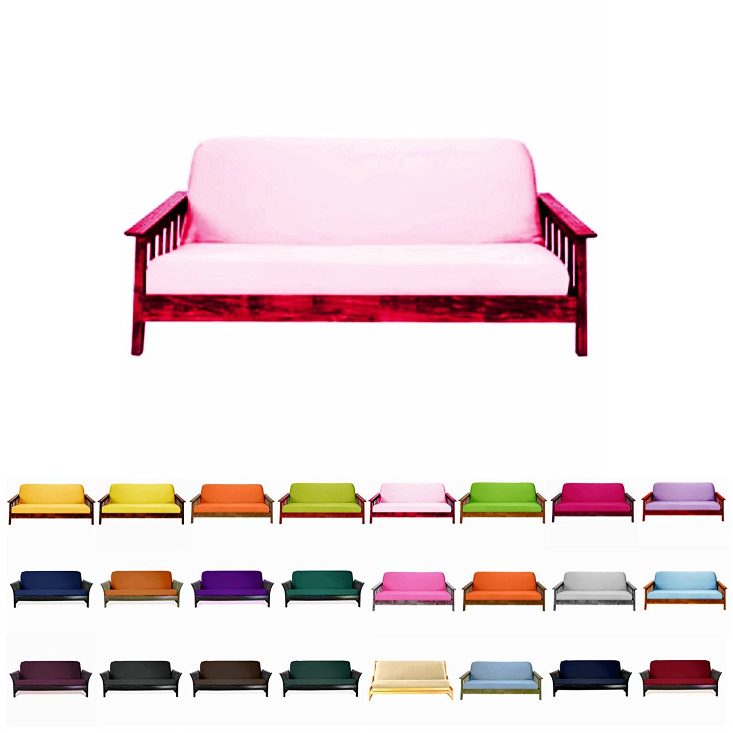 Solid Futon Cover Slipcover Fit 6 8