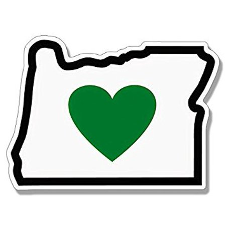 Oregon Shape with GREEN HEART in Middle Sticker Decal (or love native) 3 x 4 -