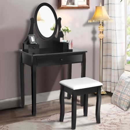 Gymax Bathroom Wooden Mirrored Makeup Vanity Set Stool