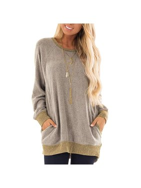 6f511f46050db Product Image Womens Casual Color Block Long Sleeve Round Neck Pocket T  Shirts Blouses Sweatshirts Tops
