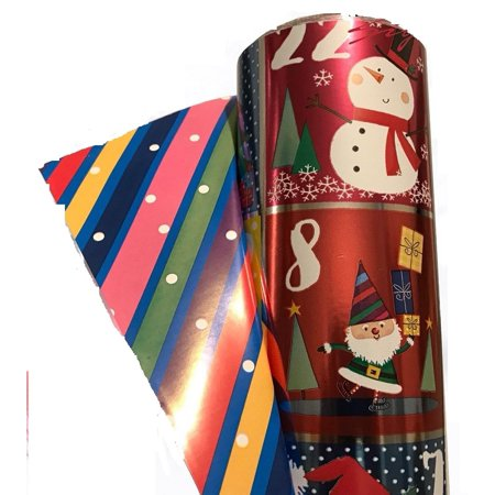 Christmas Foil Wrapping Paper - Double Sided Christmas Wrap Foil Christmas Countdown/Paper Stripes 269 sq ft