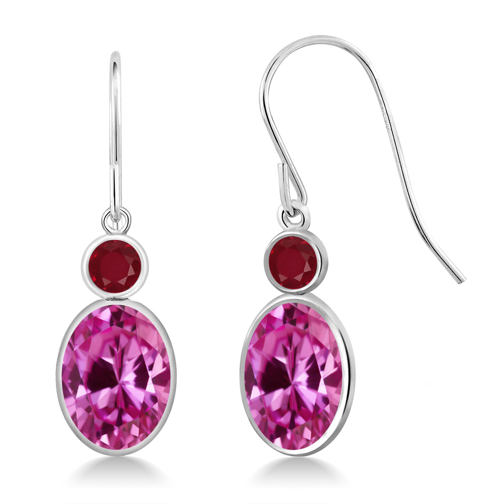 3.58 Ct Oval Pink Created Sapphire Red Ruby 14K White Gold Earrings by