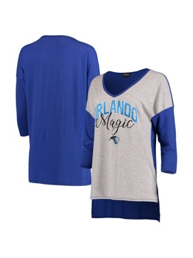 Orlando Magic Women's Meet Your Match Colorblock 3/4-Sleeve Tri-Blend V-Neck T-Shirt - Heathered Gray