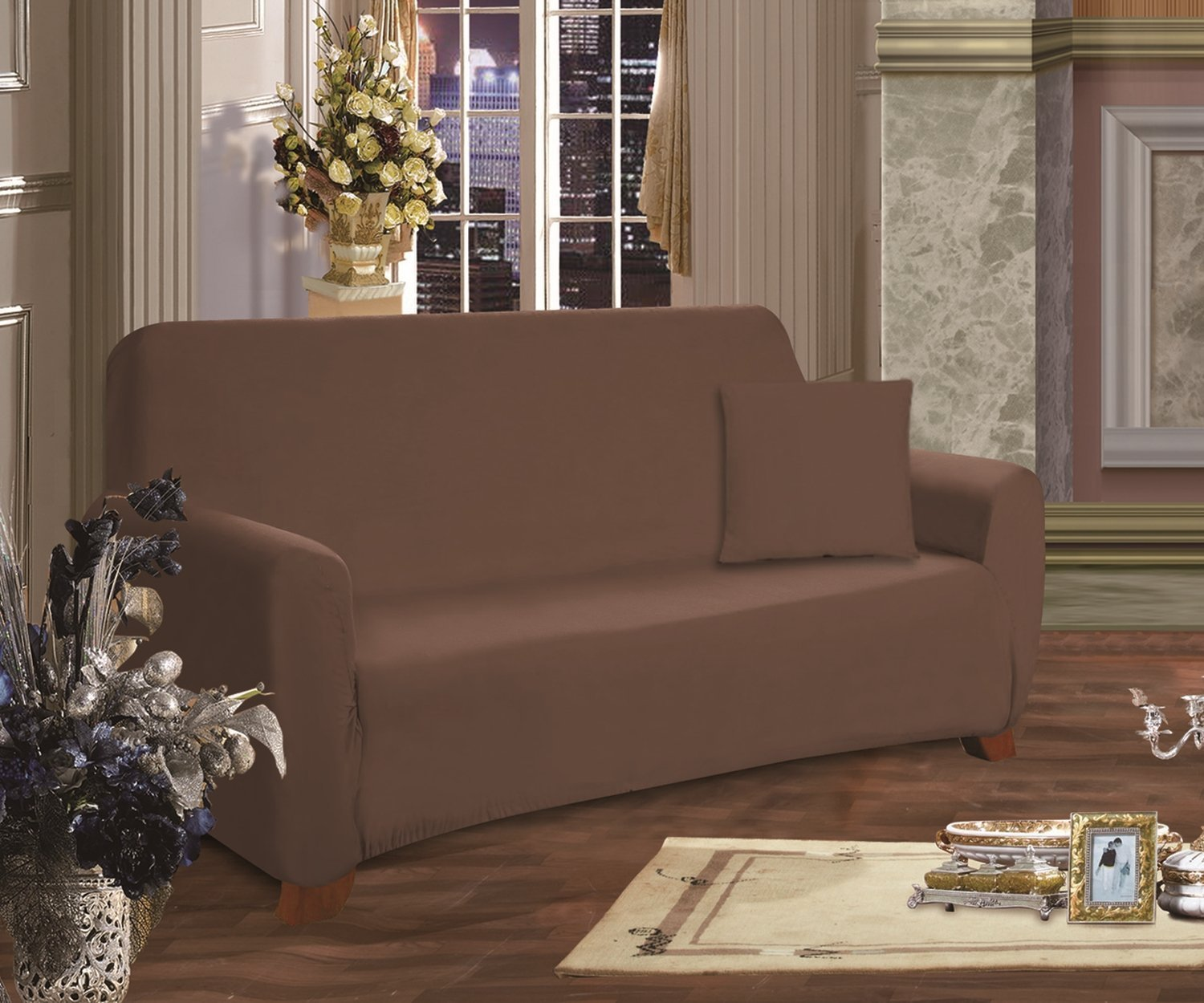 Celine Linen Collection Luxury Soft Furniture Jersey STRETCH SLIPCOVER, Sofa  Chocolate