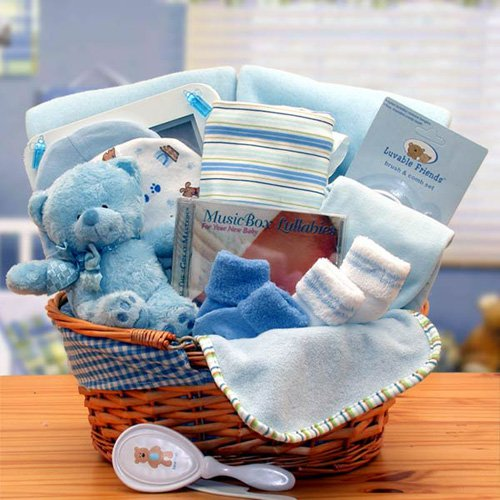 Simply The Baby Basics New Baby Gift Basket   Blue