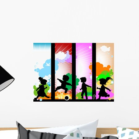 Kids Silhouette (Kids Silhouettes against Sunny Wall Mural Decal by Wallmonkeys Vinyl Peel and Stick Graphic (18 in W x 13 in)