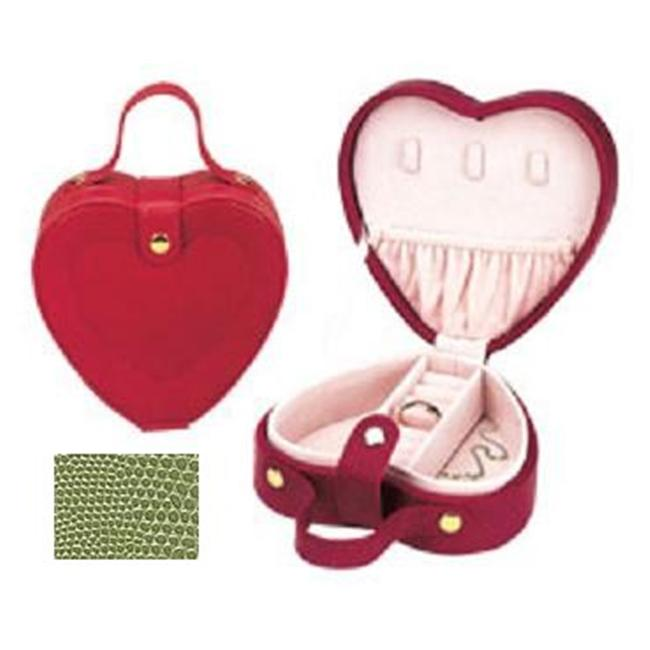 Budd Leather 540192-39 Lizard Print Heart Shaped Jewel Box With Handle - Lime Green